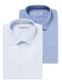 Blue Grid Check 2 Pack Shirts