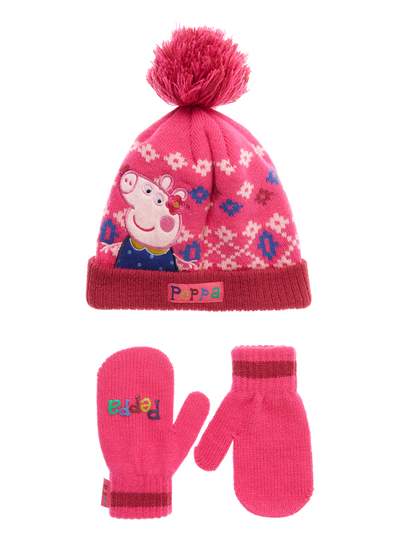 Kids Girls Multicoloured Peppa Pig Hat And Mittens Set (1-6 years ...