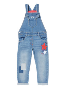 Blue Applique Denim Dungarees (9 months-6 years)