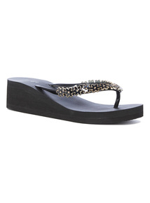Black Daisy Embellish Wedged Flip Flops