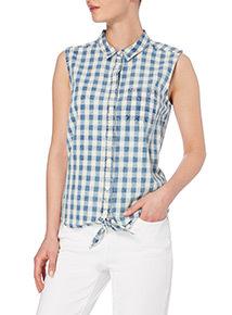 Blue Gingham Self-Tie Hem Top
