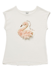 White Swan Embroidered T-Shirt (3-14 years)