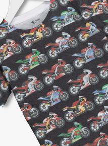 Grey Motorbike Print T-Shirt (3 - 14 years)