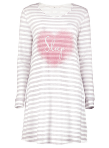 Grey Striped Slogan Nightdress