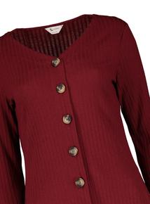PETITE Dark Red Ribbed Button Through Dress