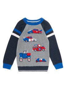 Grey Knitted Race Car Jumper (9 months-6 years)