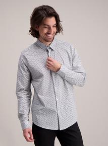 Blue & Navy Floral Regular Fit Shirt