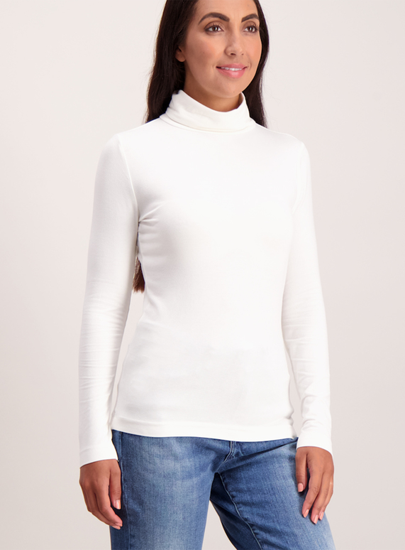 Cream Plain Roll Neck
