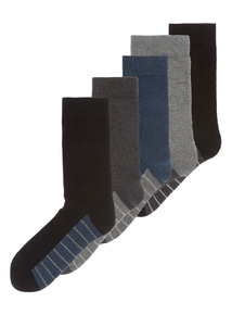 Grey Cushioned Comfort Sole Socks 5 Pack