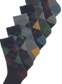Multicoloured Stay Fresh Argyle Socks 7 Pack