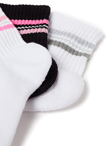 3 Pack Sports Stripe Top Socks
