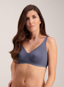 Grey Cotton Comfort Non Wired Plunge Bra