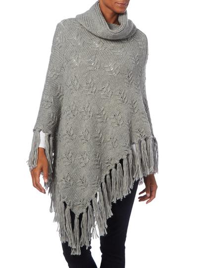 Knitting Pattern Chunky Cape : Womens Grey Chunky Knit Cape Tu clothing