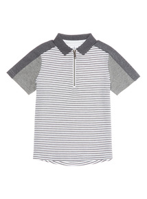 Boys Grey Colour Block Stripe Polo (3-14 years)