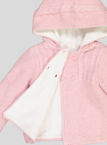 Pink Cable Knit Hooded Cardigan (Newborn - 12 months)