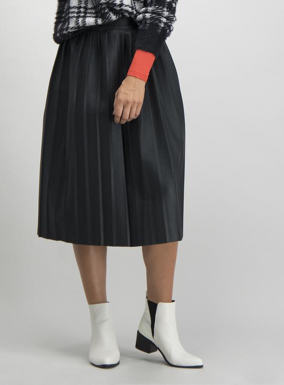 hot sales luxury aesthetic uk cheap sale Black Pleated Faux Leather Midi Skirt