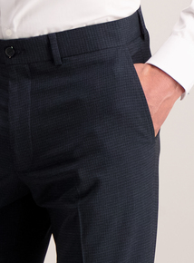 Navy Grid Tailored Fit Trousers