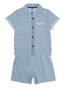 Blue Chambray Anchor Woven PJ Set (1 - 10 years)
