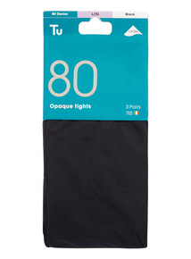 3 Pack 80 Denier Opaque Tights