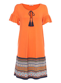 Boho Border Print Dress