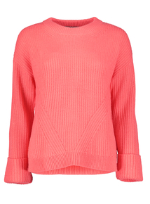 Pink Turn Back Cuff Ribbed Jumper