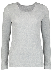 Grey Thermal Pointelle Crew Neck Long Sleeve Top