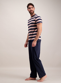 Pink & Blue Striped Rugby Pyjama Set