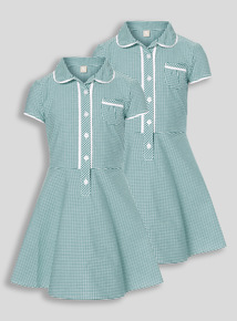 2 Pack Green Classic Gingham Dresses (3-12 years)