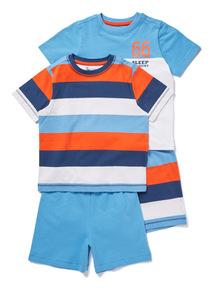 2 Pack Multicoloured England Stripe Pyjamas (1.5-12 years)