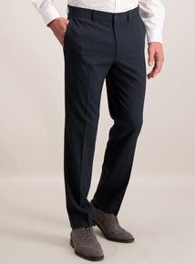 Online Exclusive Navy Blue Grid Print Slim Fit Trousers