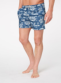 Multicoloured Island Scene Swim Shorts