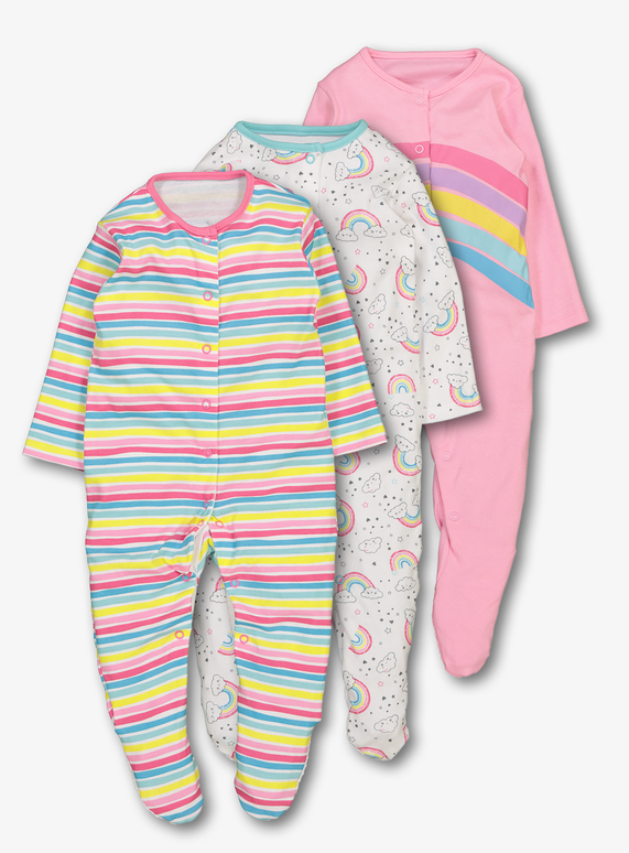 45780b99cd8b Baby Multicoloured Rainbow Sleepsuits (0-24 months)