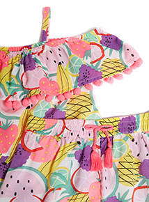 Multicoloured Fruit Print Shorts Co-ord (3-14 years)
