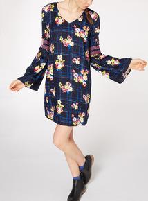 Check Floral Print Dress