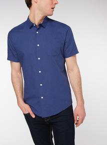 Navy Regular Fit Linen Rich Shirt