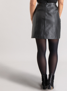 Premium Online Exclusive Black Whipstitch Leather Skirt