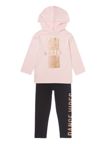 Pink Snit Top And Leggings Set (3 - 14 years)