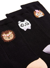 5 Pack Black Animal Socks