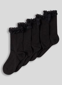 Multicoloured Lace Trim Socks 5 Pack
