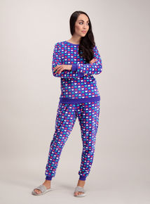 Multicoloured Heart Print Velour Pyjamas