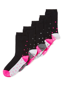 5 Pack Multicoloured Neon Footbed Socks