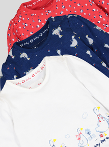 Multicoloured Geese Print Long Sleeve Tops 3 Pack (0-24 months)