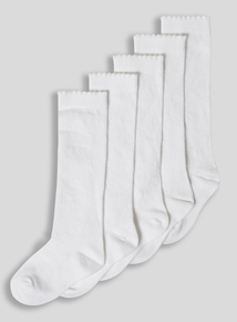 White Knee-High Socks 5 Pack (6 infant-5.5 adult)