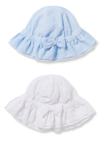 2 Pack Multicoloured Broderie and Gingham Hats  (0-24 months)