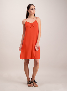 Coral Red Bow Detail Cami Dress