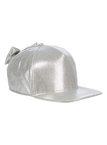 Silver Glitter Bow Cap (3-13 years)