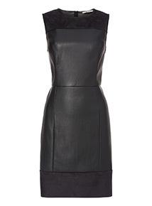 Black PU Suedette Shift Dress