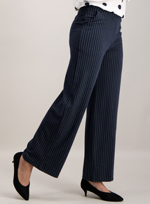 Navy Pinstripe Wide Leg Trousers
