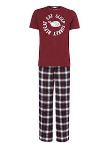Dark Red Eat Sleep Repeat Check Pyjama Set
