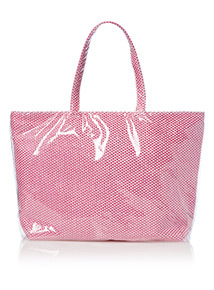 Woven Check Plastic Shopper Bag